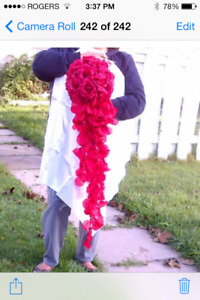Cascading red rose wedding bouquet