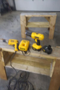 Dewalt gyprock screw gun with 50 ft cord and cordless drill