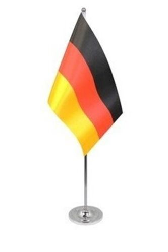 """GERMANY DELUXE SATIN TABLE FLAG 9""""X6"""" CHROME POLE & BASE Stands 15"""" GERMAN"""