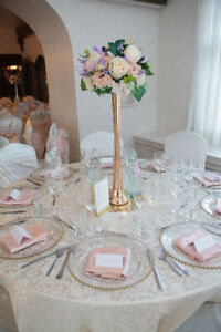 Elegant Wedding Centerpieces, Golden Flute Vases, Floral Decor