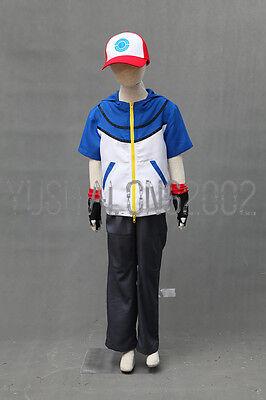 POKEMON Ash Ketchum Cosplay costume Kostüm hat hut cloth handschuh Outfit go 4 Ash Ketchum Outfit