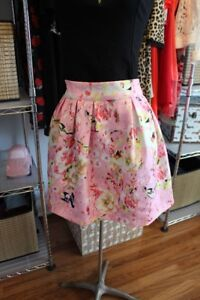 Pink Floral Mini Skirt Size Small