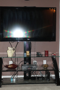 3 Shelf Glass entertainment unit with TV Stand
