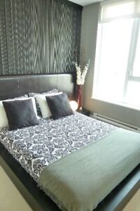 Ebony wood low rise queen bed frame & leather headboard
