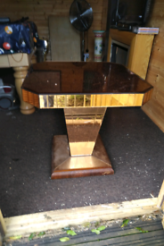 Retro 70s gold glass coffee or side table