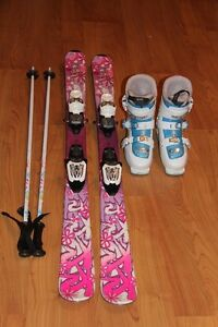 Girls skis, poles and boots