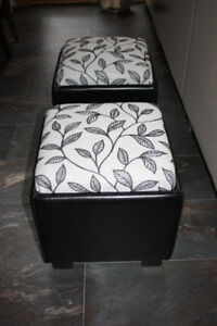 Two Upholstered Ottomans