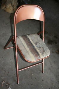 REDUCED, 4 solid metal folding upholstered chairs,. $50 OBO