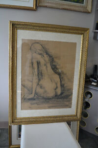 LISTED JOHN TOPELKO Charcoal NUDE Drawing 37 X 29 INCHES