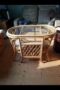 Glass top wicker table and chair set