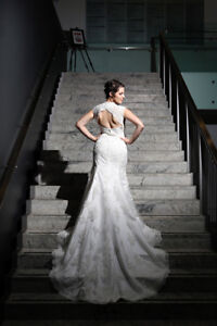 Lace Overlay Wedding Dress with Gorgeous Peek-A-Boo Back