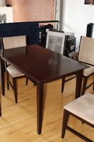 Dark Stained Kitchen Wood table with matching chairs