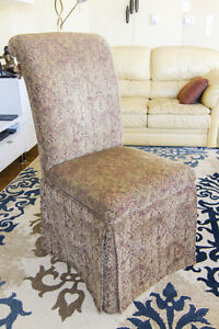 Two accent/dining/occasional chairs in rich tapestry fabric