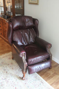 fauteuil inclinable - cuir bourgogne