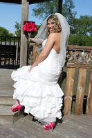 wedding dress, reception dress