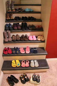almost 30pair of girl's shoes, boots, dress shoes size 9-3 +more