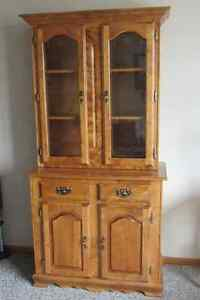 2 piece wooden china cabinet