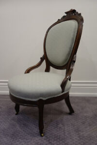 ANTIQUE UPHOLSTERED / WOOD CHAIR