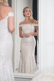 R1105 White Rose Wedding Dress Ivory/Cafe in UK12/14