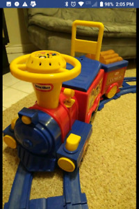 Little Tykes Train ride on with battery charger and rails