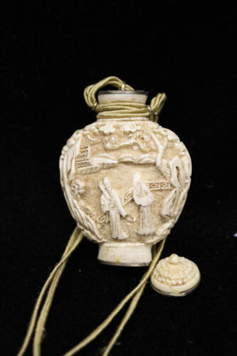 Chinese Off-White Carved Cinnabar Snuff Bottle Mark/Signed on Base