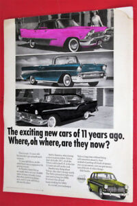 UNIQUE 1968 VOLVO AD WITH 1957 PLYMOUTH CHEVY FORD -VINTAGE 50S