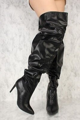Womens Black Slouch Pointy Toe Thigh High Boots Faux Leather Stiletto Heels New Black Womens Stiletto