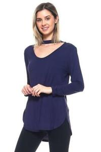 Arista Gems Ladys Soft Relaxed Fit Long Sleeve Choker Pullover Top