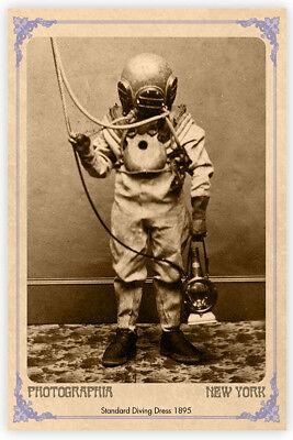 CLASSIC STANDARD DRESS DIVE SUIT 1895 Vintage Photograph A+ Cabinet Card CDV