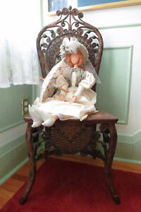 Antique Victorian Wicker Reception Chair and Hand-made Doll