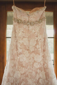 Blush wedding dress with ivory lace overtop