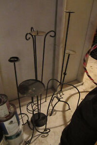 Five Black Rod Iron Candle Holders