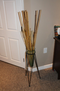 Glass Vase in Metal Stand with Bamboo