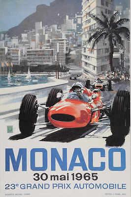 - VINTAGE 1965 MONACO GRAND PRIX AUTO RACING POSTER PRINT 36x24 9 MIL PAPER