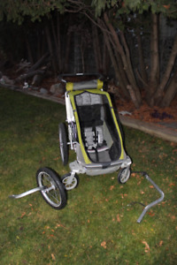 Chariot Single Stroller with bike attachment & jogging wheel