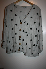 Womens size 10 grey polka dot shirt