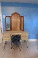 Antique dresser with mirror and chair
