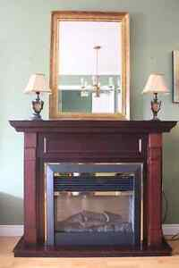Electric fireplace, lamps, mirror
