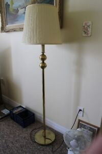 Floor lamp - gold or brass colour with ivory shade