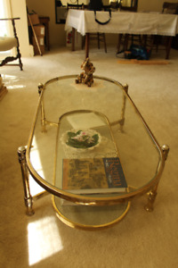 Glass and brass Coffee Table with matching End Tables