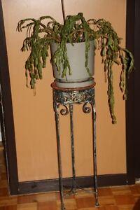 Jolie table à bouquets en fer forgé et jonc