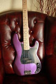 Westfield B1000 Bass Guitar, purple metalflake sparkle & maple neck