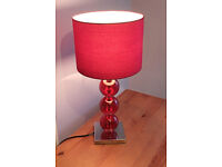 SALE!! Beautiful Premier Housewares Mistro Table Lamp with Red Faux Suede Shade