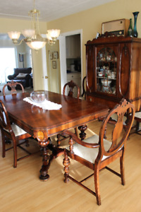 Antique dining room set, table chairs, hutch and buffet