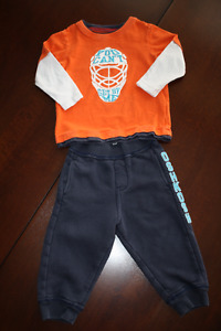 Osh Kosh Hockey Shirt and Track Pants Outfit