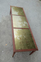 Spectactular Glass-Inset 1950s Walnut Coffee Table
