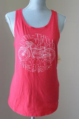 NEW LUCKY BRAND WOM L Tank TOP HALTER SLEEVELESS CAMI RED CORAL Motorcycle SHIRT (Lucky Brand Cami)