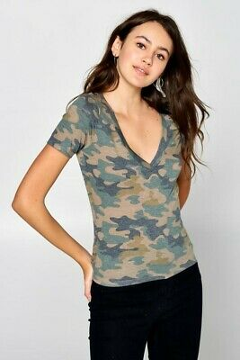 Army Camo Print T-Shirt Deep V-Neck Soft Knit Short Sleeve Tee Camouflage Top Deep V-neck Knit Tee
