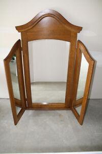 Vintage Solid Oak 3 Way Chapel Mirror