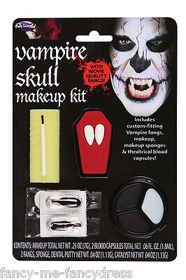 Mens Ladies Halloween Vampire Fangs Blood Make Up Fancy Dress Costume Kit Set